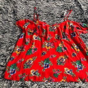 Old Navy floral cold shoulder top size 2X red